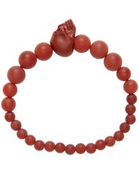 Alexander McQueen | Purple Burgundy Beaded Skull Bracelet for Men | Lyst