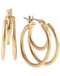 Kenneth Cole | Metallic Gold-tone Small Hoop Earrings | Lyst