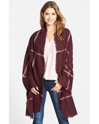 Halogen - Red Windowpane Plaid Blanket Wrap - Burgundy - Lyst