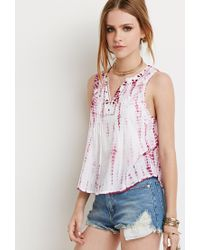 Forever 21 | Pink Embroidered Tie-dye Top | Lyst