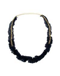Kasturjewels - Black Metal Necklace On Pleated Silk Cloth - Lyst