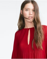 Zara | Red Pleated Top | Lyst