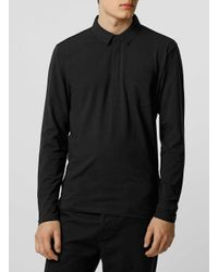 SELECTED - Black Long Sleeve Polo Shirt for Men - Lyst