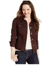 Style & Co. - Brown Colored Denim Jean Jacket - Lyst