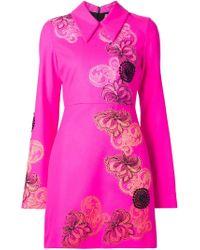 MSGM - Pink Floral Print Rear Zip Dress - Lyst