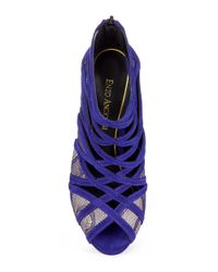 Enzo Angiolini | Purple Niccho Suede And Lace Stiletto Heels | Lyst