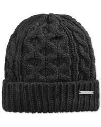 Michael Kors | Black Half Cardigan Stitch Beanie for Men | Lyst