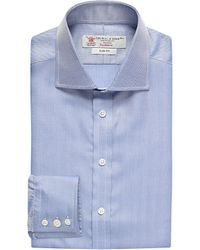 Turnbull & Asser | Blue Herringbone-weave Slim-fit Single-cuff Shirt for Men | Lyst