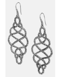 John Hardy | Metallic 'classic Chain' Large Braided Drop Earrings - Sterling Silver | Lyst
