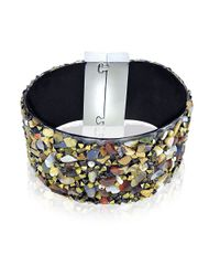 Lord & Taylor | Black Semi-Precious Multi-Stone Cuff Bracelet | Lyst