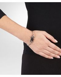 Bottega Veneta - Brown Bracelet In Silver, Smoky Quartz And Tourmaline Stones With Yellow Gold Accents - Lyst