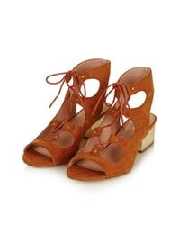 TOPSHOP - Brown Daily Ghillie Sandal - Lyst