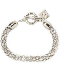Anne Klein | Metallic Silver Tubular Crystal Toggle Bracelet | Lyst