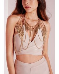 Missguided | Metallic Full Body Layered Body Chain Gold | Lyst