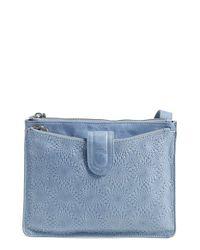 Hobo - Blue 'Goldie' Embossed Leather Crossbody Bag - Lyst
