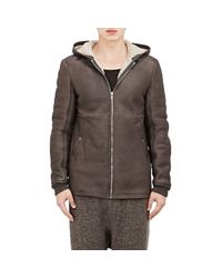 Rick Owens - Gray Shearling-lined Grained Leather Jacket for Men - Lyst