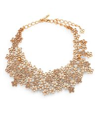 Oscar de la Renta | Metallic Swarovski Crystal Flower Necklace | Lyst