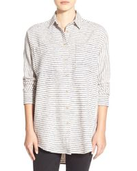 Madewell | Gray Oversize Flannel Trapeze Shirt | Lyst