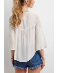 Forever 21 - Natural Embroidered Mesh Panel Top You've Been Added To The Waitlist - Lyst