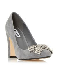 Dune Gray Bambi Bejewelled Bow Detail Court Shoes