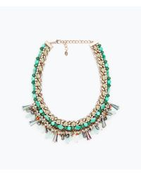 Zara | Multicolor Chain And Glass Stones Necklace | Lyst