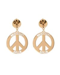 Moschino | Metallic Fauxschino Peace Sign Earrings | Lyst