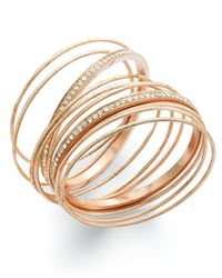 INC International Concepts | Metallic Inc International Concept Rose Gold-tone Crystal Pavé Bangle Bracelet Set | Lyst