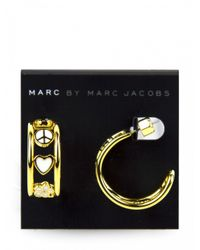 Marc By Marc Jacobs | Metallic Gold And White Peace Sign Circle Earrings | Lyst