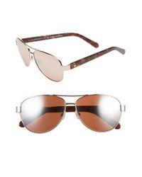 kate spade new york | Pink 'dalia2' 58mm Aviator Sunglasses | Lyst