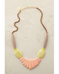 Anthropologie - Pink Peach Jade Bib Necklace - Lyst