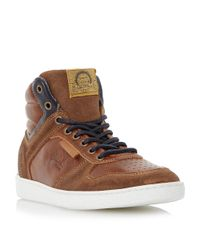 Dune | Brown Sandy Hills Hi-top Leather Trainers for Men | Lyst