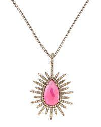Bavna - Pink Glass Ruby Sunburst Teardrop Necklace - Lyst