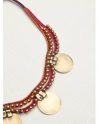 Free People | Pink Paulina Barcelona Womens Coins Massai Necklace Collar | Lyst