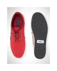 Polo Ralph Lauren - Red Twill Faxon Low Sneaker for Men - Lyst