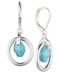 Jones New York - Blue Silver-Tone Faux-Turquoise Drop Earrings - Lyst