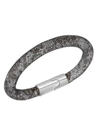 Swarovski | Black Stardust Crystal And Charcoal Fishnet Bracelet | Lyst