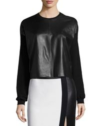 Ralph Lauren Collection - Black Boxy Leather-front Sweater - Lyst