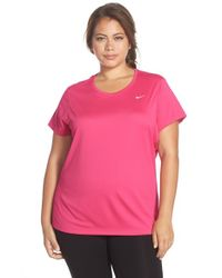 Nike | Pink 'miler' Dri-fit Extended Short Sleeve Top | Lyst