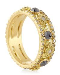 Armenta - Metallic Sueno Yellow Gold Band Ring With Diamonds - Lyst