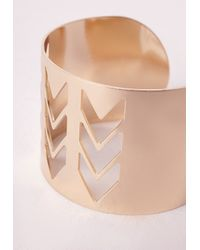 Missguided - Metallic Chevron Cut Out Cuff Gold - Lyst