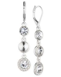 Nine West | Silver-tone Blue Stone And Crystal Drop Earrings | Lyst