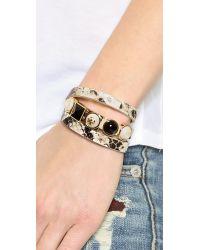 Tory Burch   Triple Wrap Bracelet - Natural/Shiny Brass   Lyst
