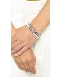 Kacey K - Metallic Kk Grateful Bracelet Set - Silver - Lyst