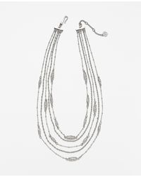 Ann Taylor | Metallic First Frost Layered Necklace | Lyst