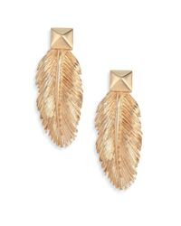 Valentino | Metallic Feathers Studded Drop Earrings | Lyst