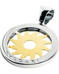 BVLGARI | Metallic Tondo 18ct Yellow-gold And Stainless Steel Sun Pendant | Lyst