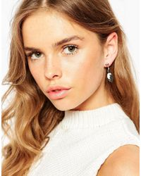 ASOS | Metallic Mono Drop Swing Earrings | Lyst