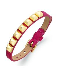 Juicy Couture - Pink Goldtone Pyramid Stud Skinny Cashmere Rose Leather Bracelet - Lyst