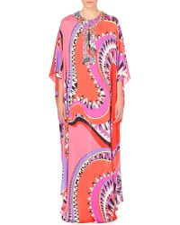 Emilio Pucci | Pink Abstract-print Silk Kaftan | Lyst