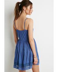 Forever 21 | Blue Floral Crochet-paneled Dress | Lyst